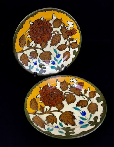 Gouda Pottery Plate / Charger Pair / Vintage 1950's Yellow / Brown / Blue